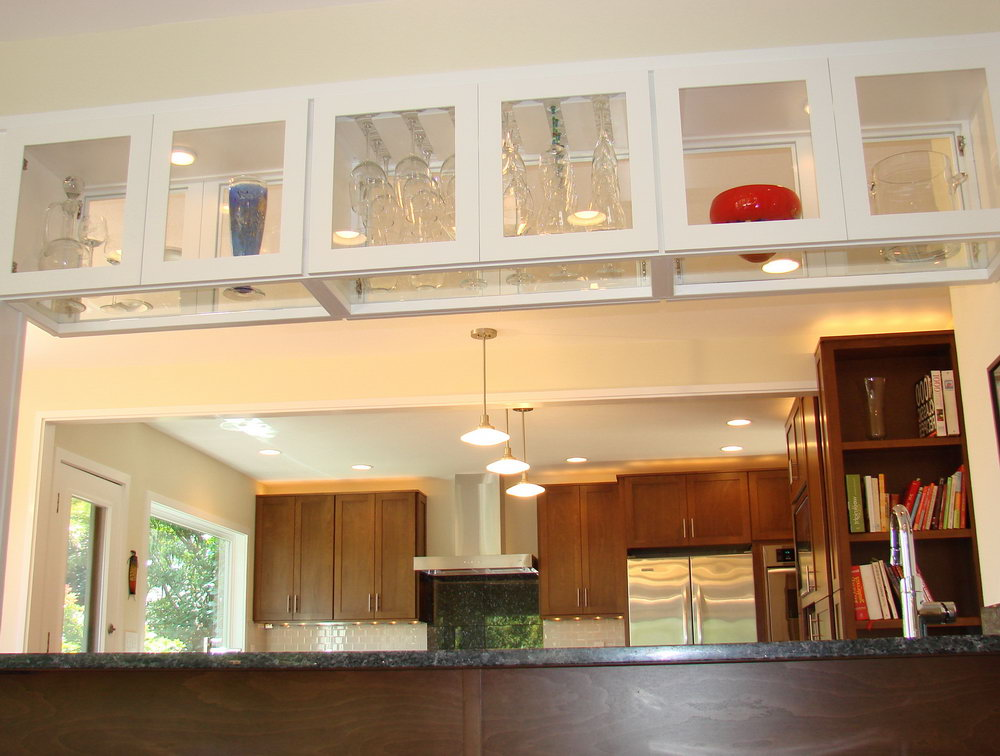 Contemporary Kitchen Glass Cabinets