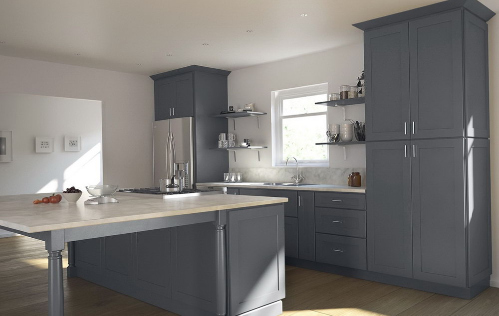 Dark Grey Shaker Kitchen Cabinets