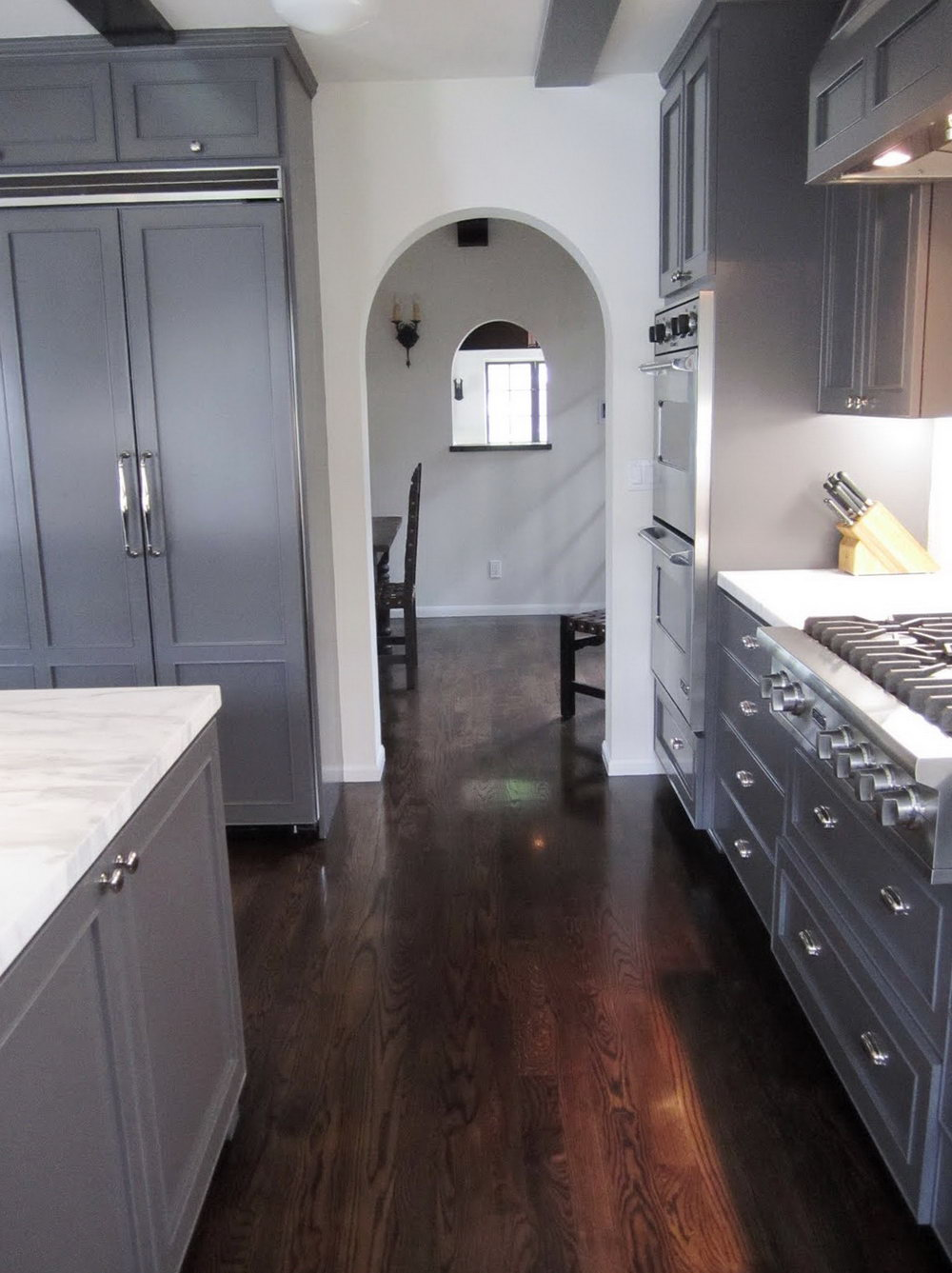 Grey Kitchen Cabinets Dark Wood Floors