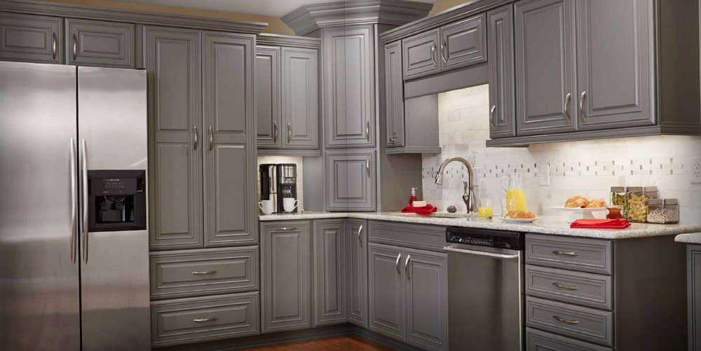 Grey Kitchen Oak Cabinets