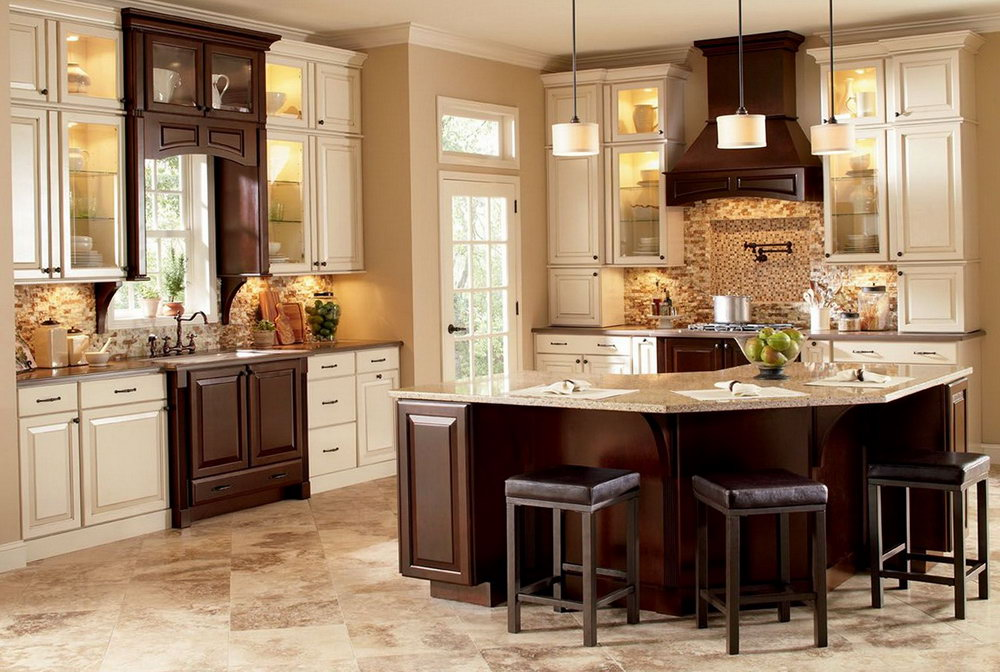 Kitchen Cabinet White And Brown