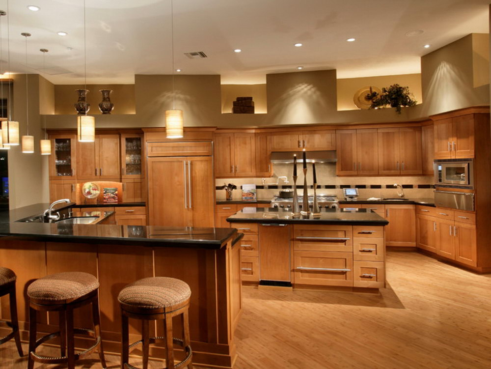 Kitchen Cherry Cabinets Black Granite