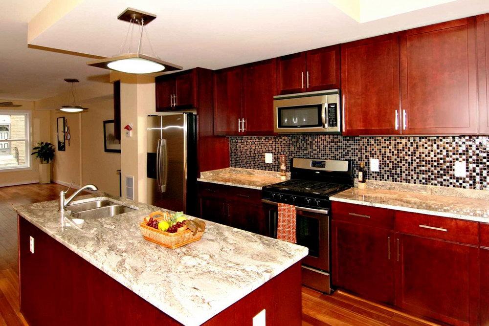 Kitchen Cherry Cabinets Dark Granite