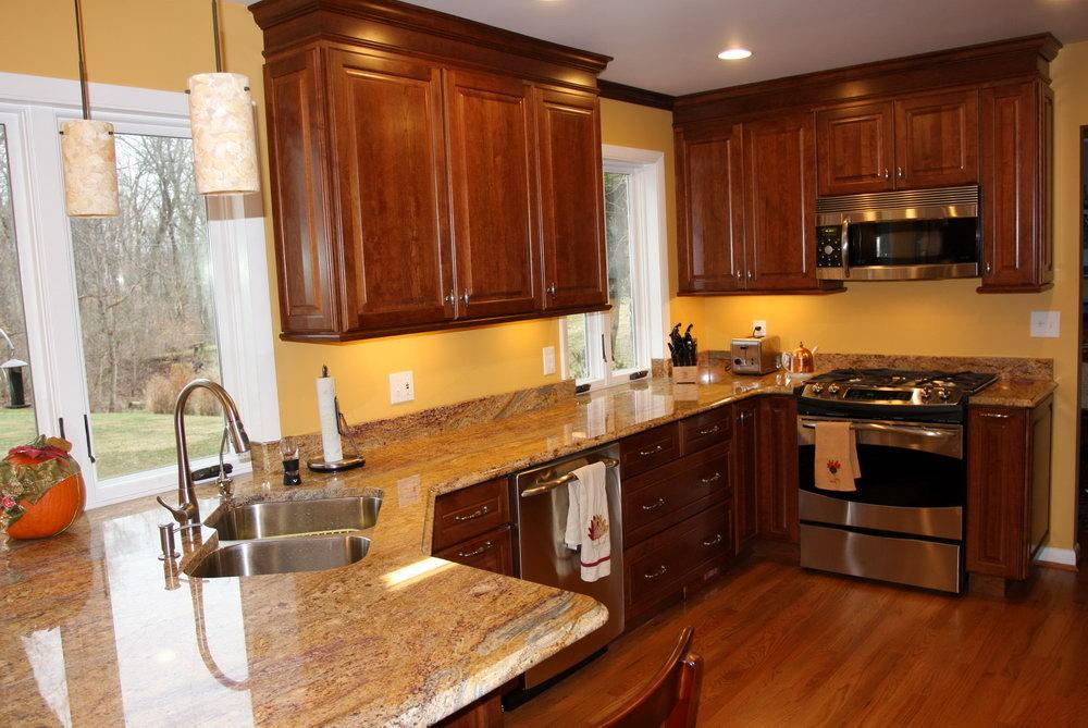 Kitchen Cherry Cabinets Granite Countertops