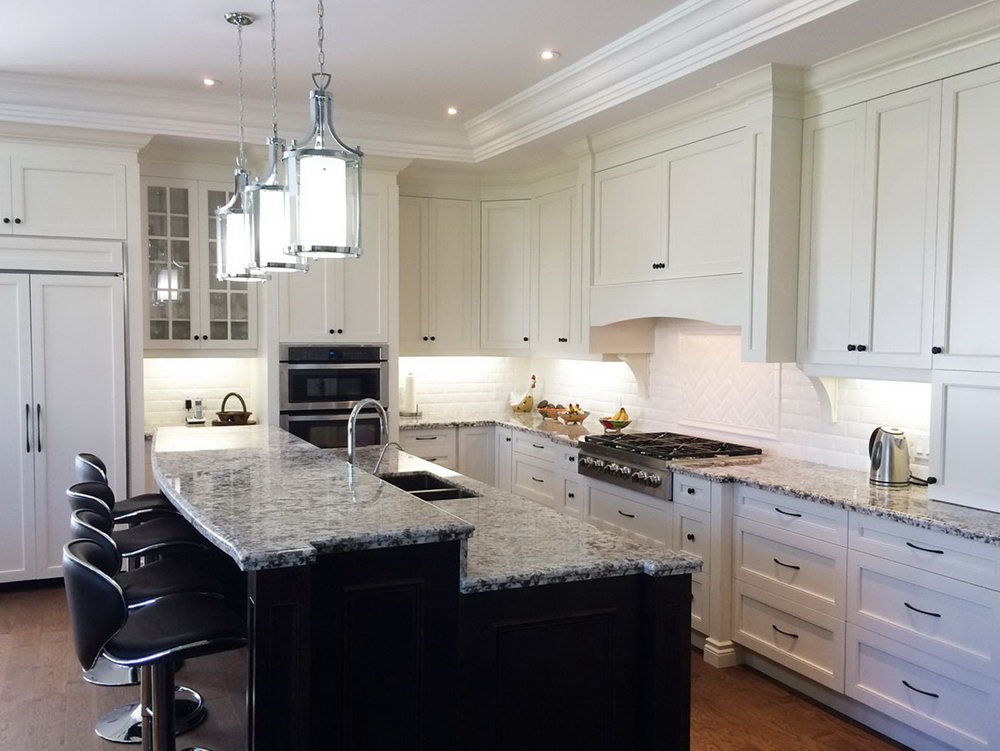 Kitchen Designs White Cabinets Dark Island