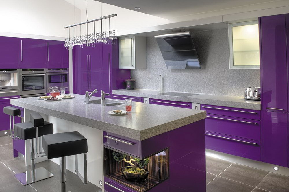Kitchen Purple Walls White Cabinets