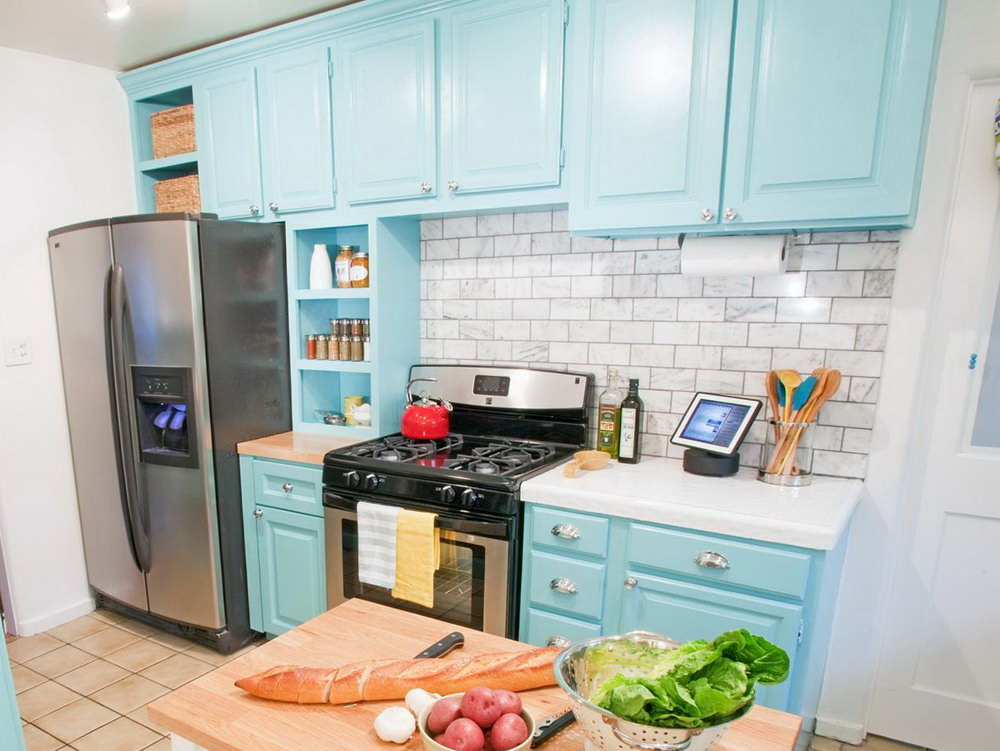 Light Blue Kitchen Cabinets Photo