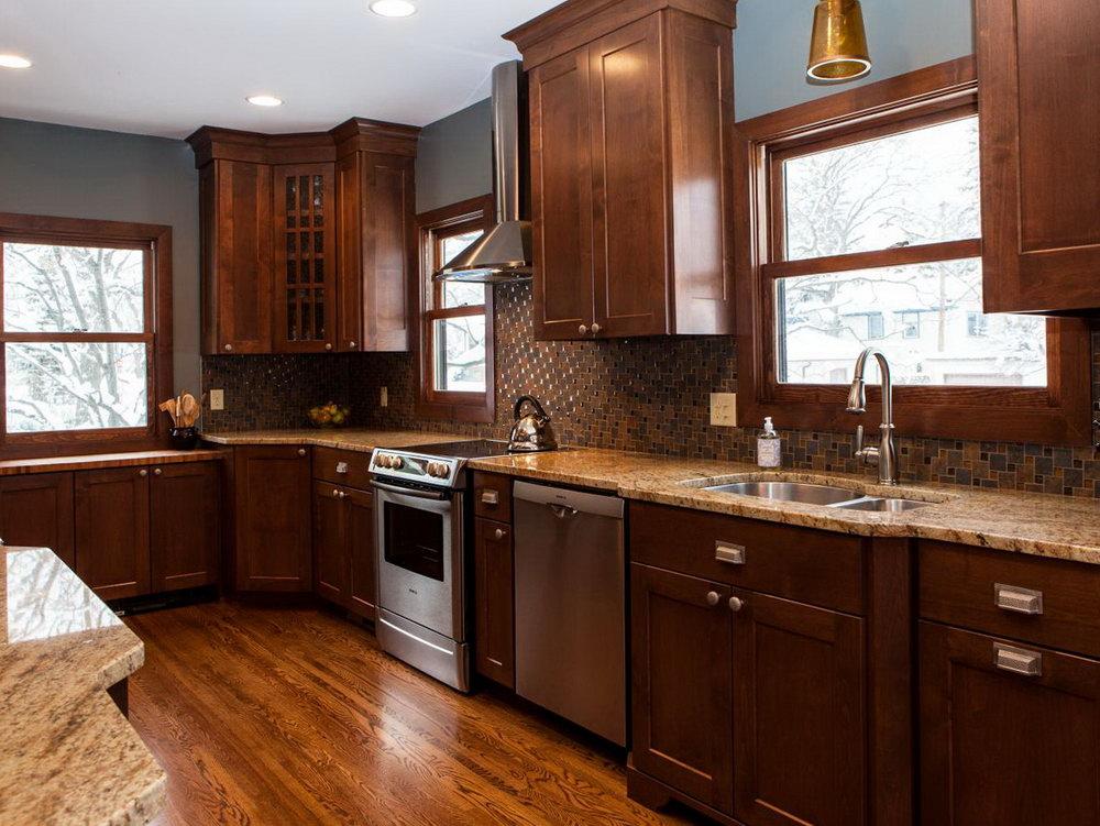 Light Blue Kitchen Walls Brown Cabinets