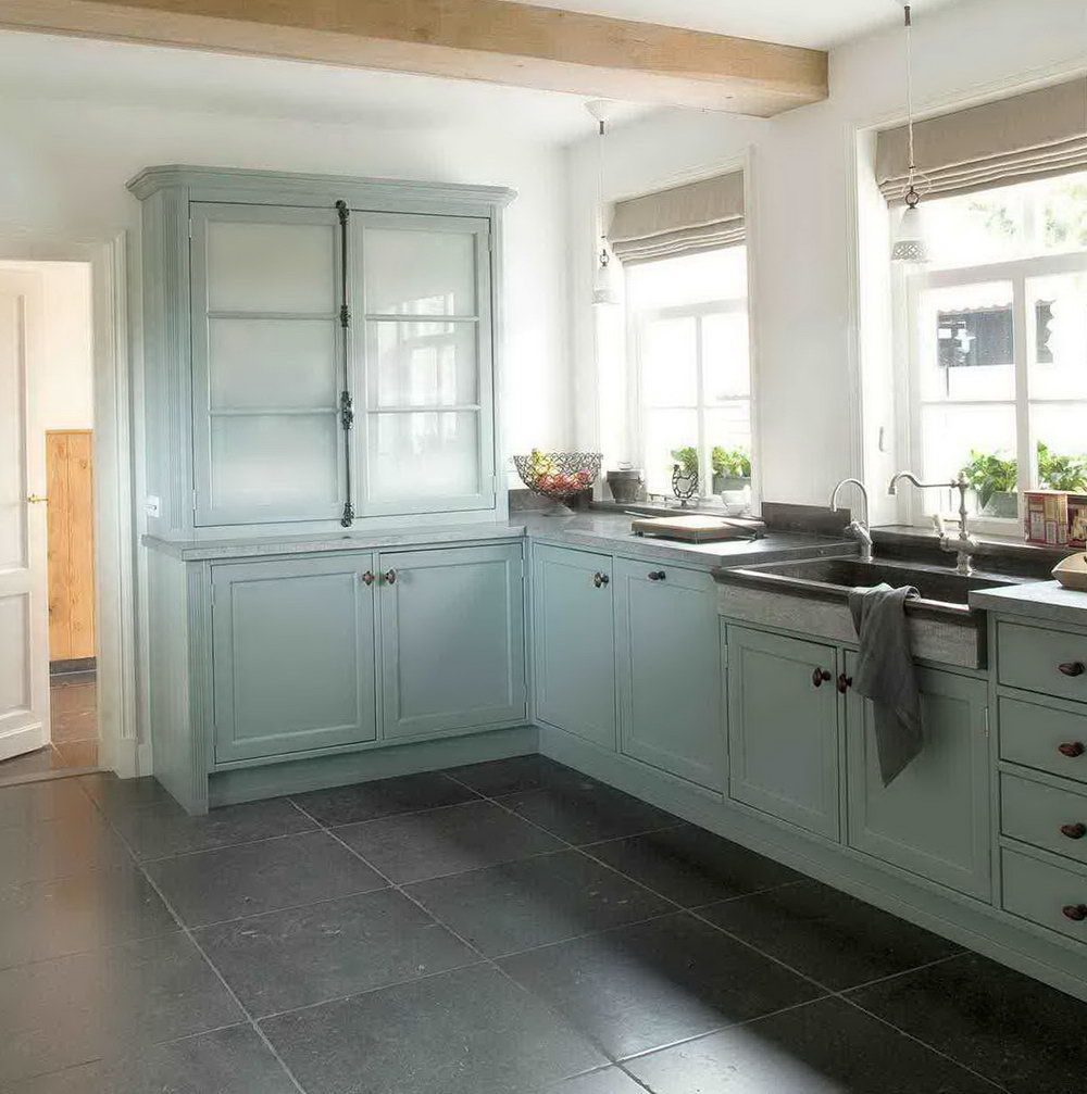 Light Blue Kitchen White Cabinets