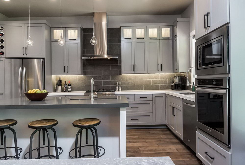 Light Grey Stained Kitchen Cabinets