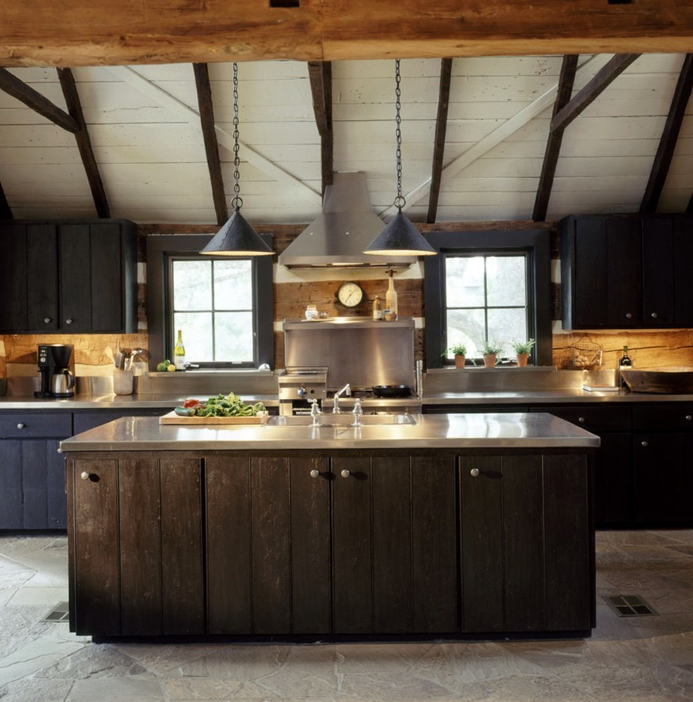 Log Cabin Kitchen Black Cabinets