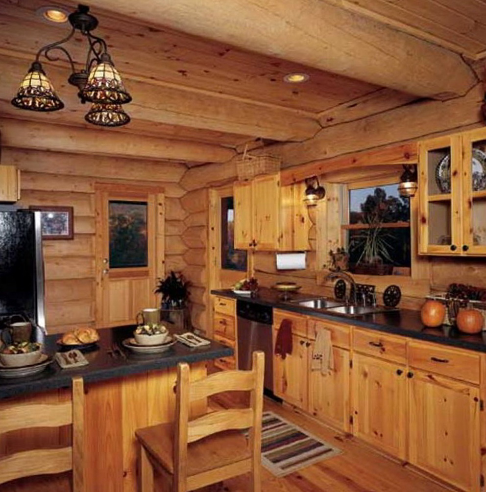 Log Cabin With White Kitchen Cabinets