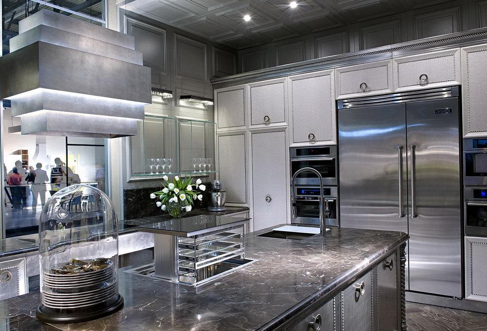 Metallic Silver Kitchen Cabinets