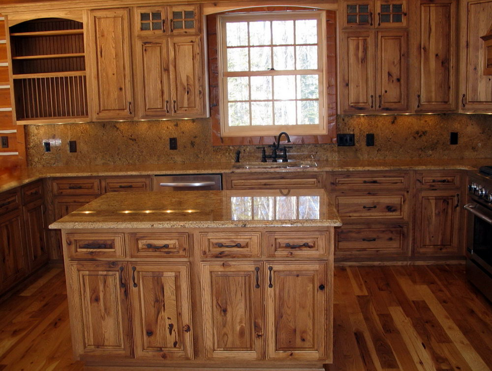 Natural Hickory Cabinets Kitchen