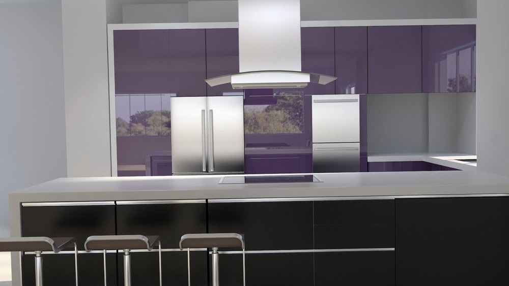 Purple Color Kitchen Cabinets