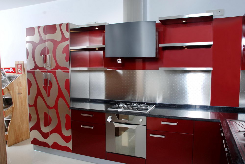 Red And Silver Kitchen Cabinets