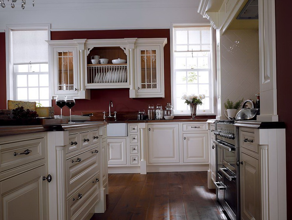 Red Wall Kitchen White Cabinets