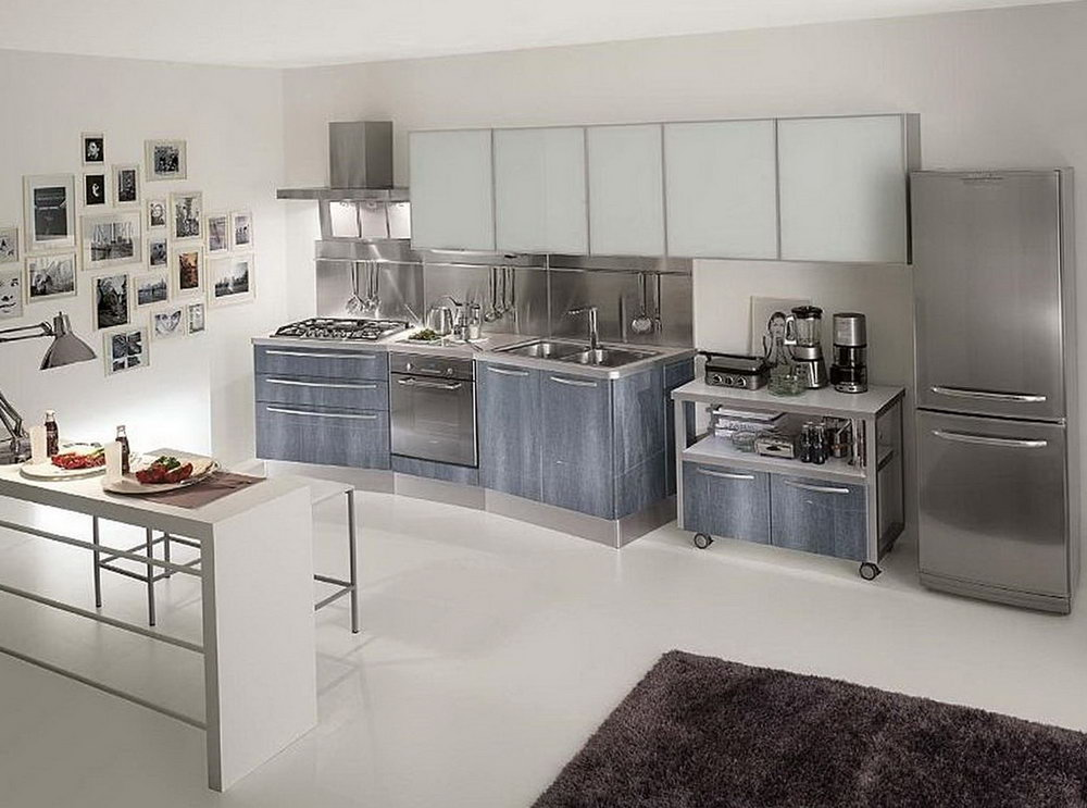 Silver Painted Kitchen Cabinets