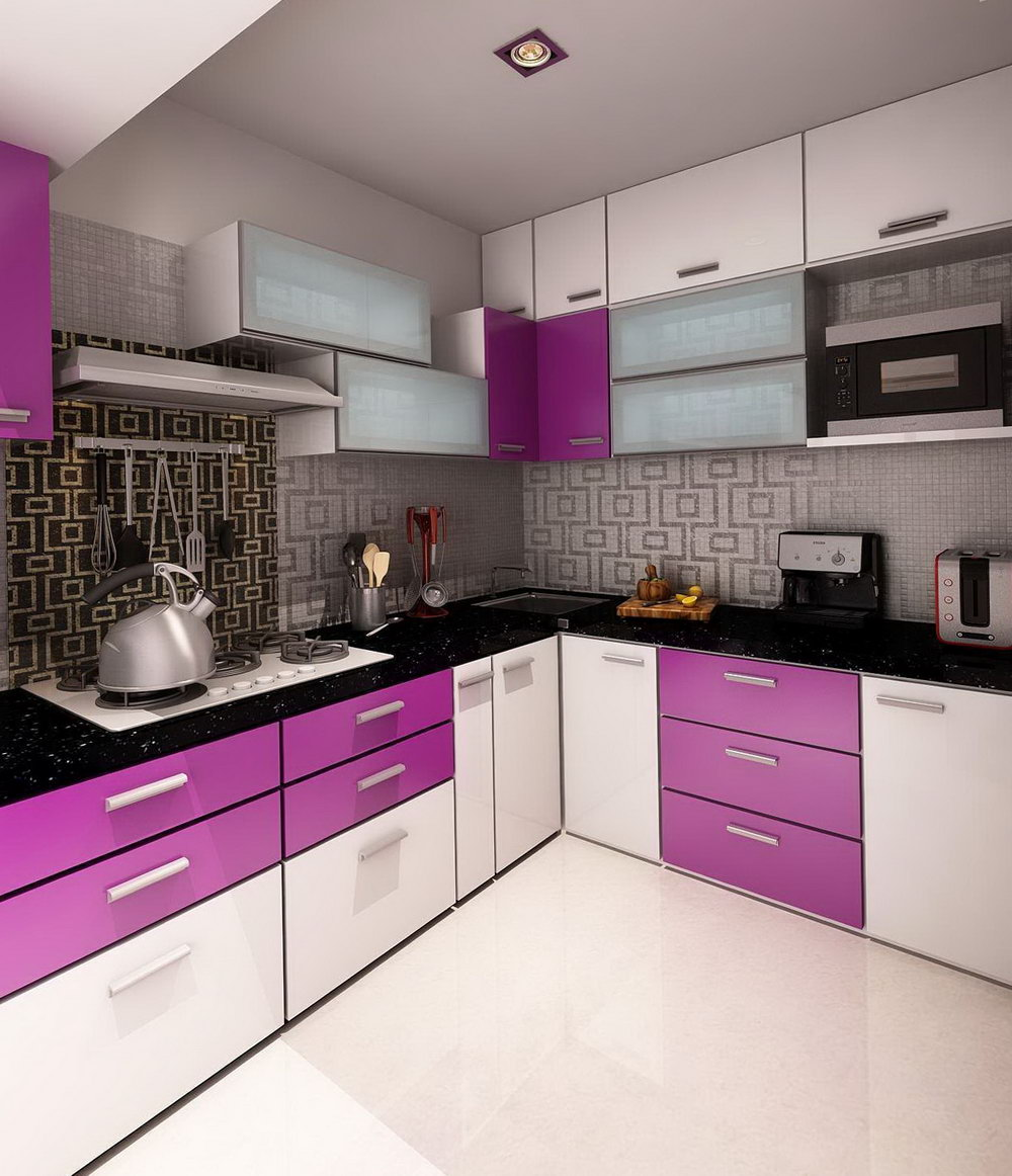 White And Purple Kitchen Cabinets