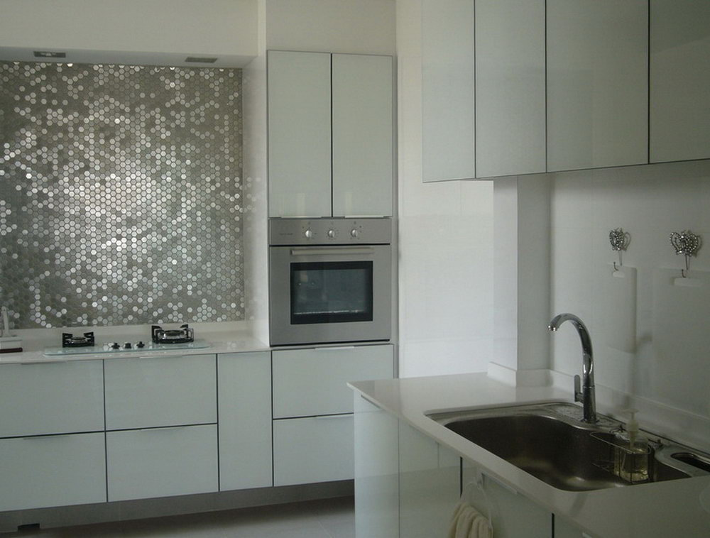 White And Silver Kitchen Cabinets