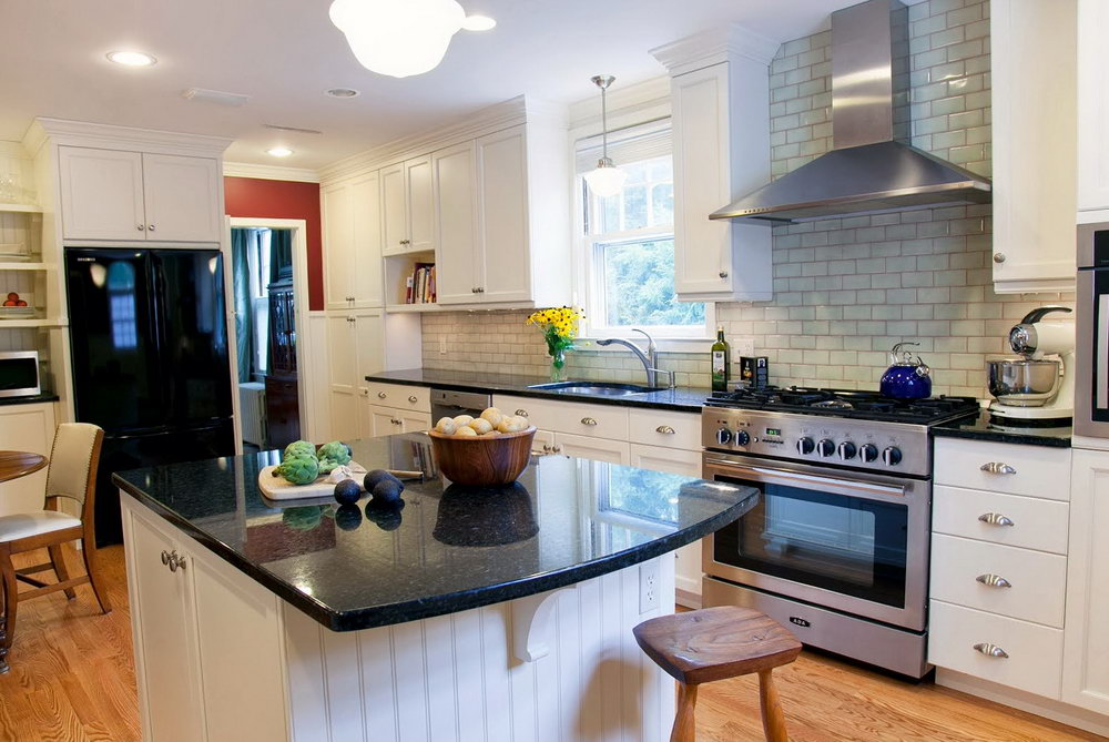 White Kitchen Cabinets With Black Granite Counters