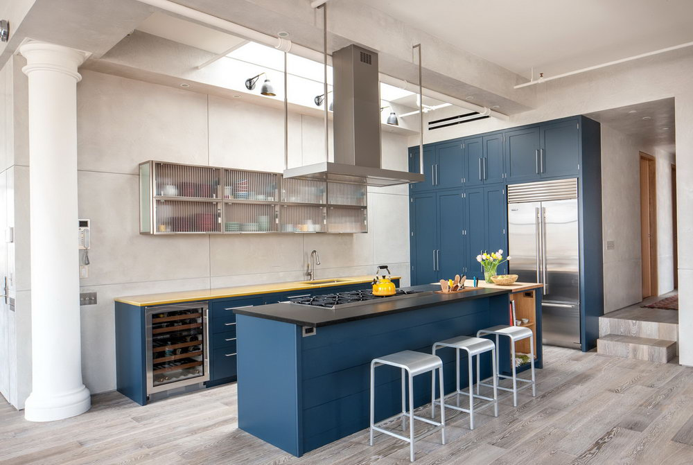 Deep Blue Kitchen Cabinets