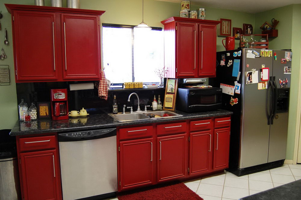 Deep Red Kitchen Cabinets