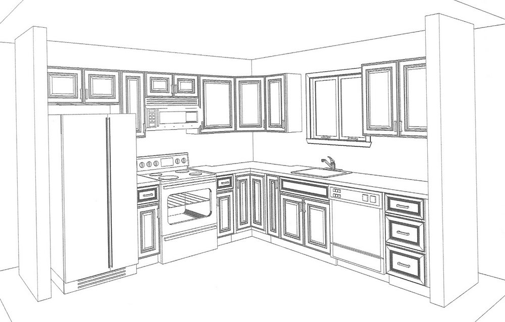 Drawing Kitchen Cabinets Free