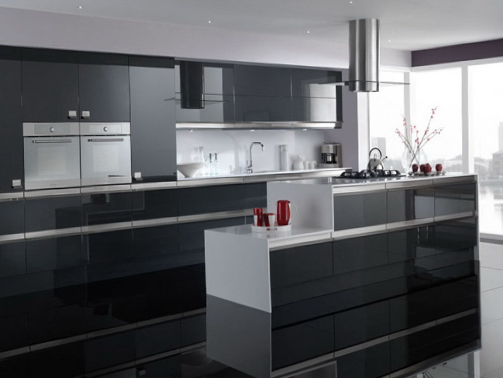 High Gloss Black Kitchen Cabinets