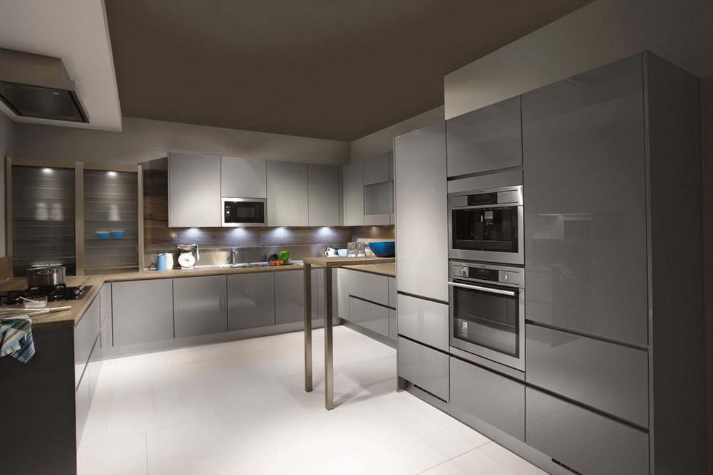 High Gloss Grey Kitchen Cabinets