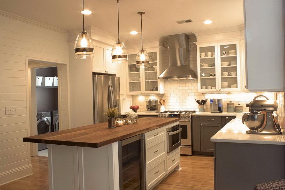 Kitchen Cabinets Grey Lower White Upper