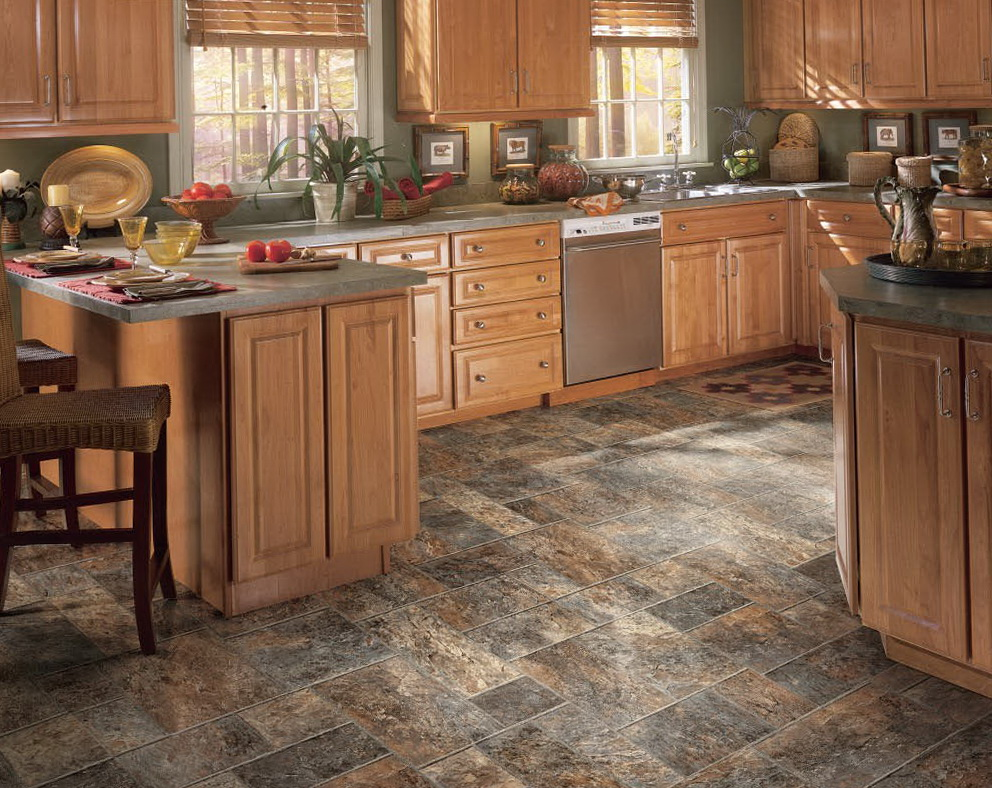 Kitchen Floor Tile Ideas With Oak Cabinets
