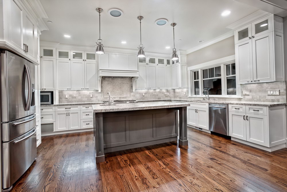 Kitchen Gray And White Cabinets