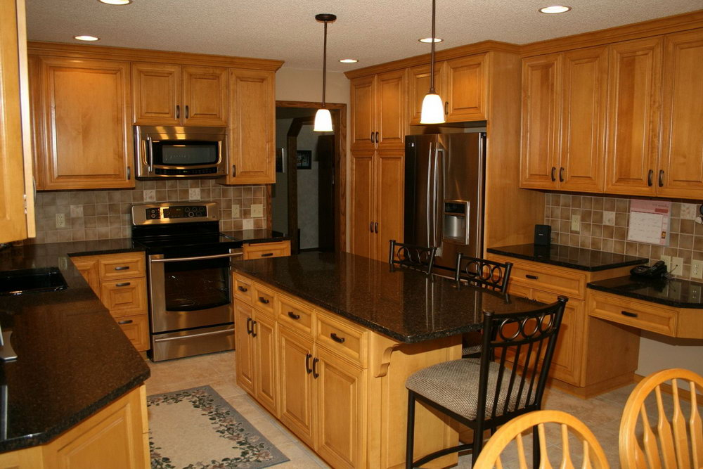 Kitchen Maple Cabinets Black Granite
