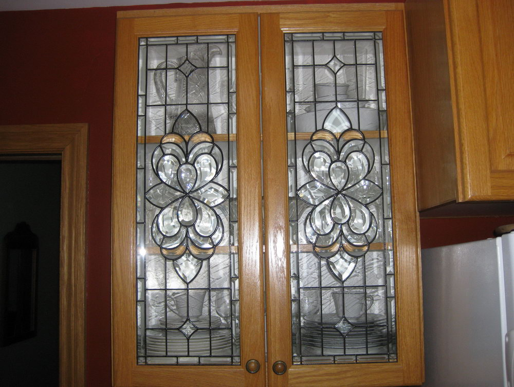 Leaded Glass Kitchen Cabinet Door Inserts