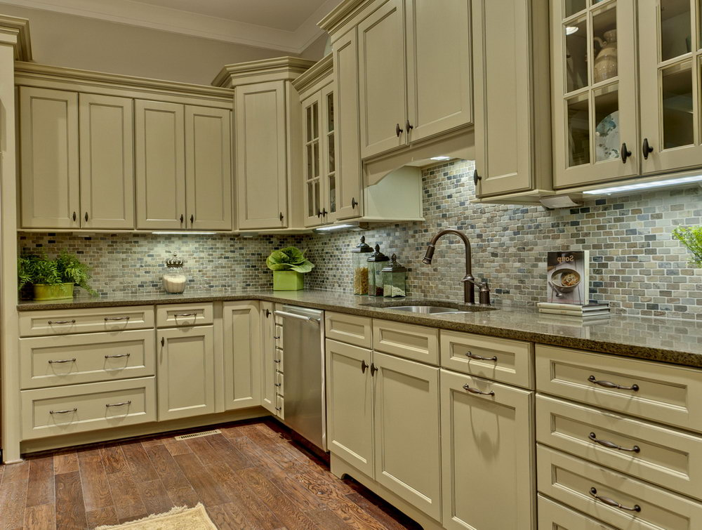 Olive Green And White Kitchen Cabinets