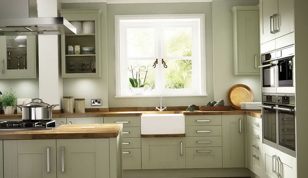 Olive Green Distressed Kitchen Cabinets