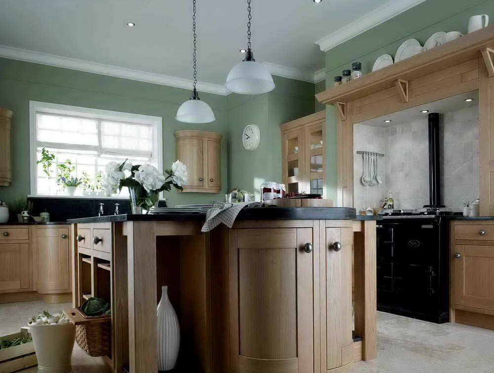 Olive Green Kitchen Walls Dark Cabinets