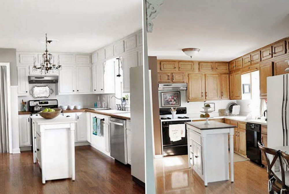 Repainted Kitchen Cabinets Before And After