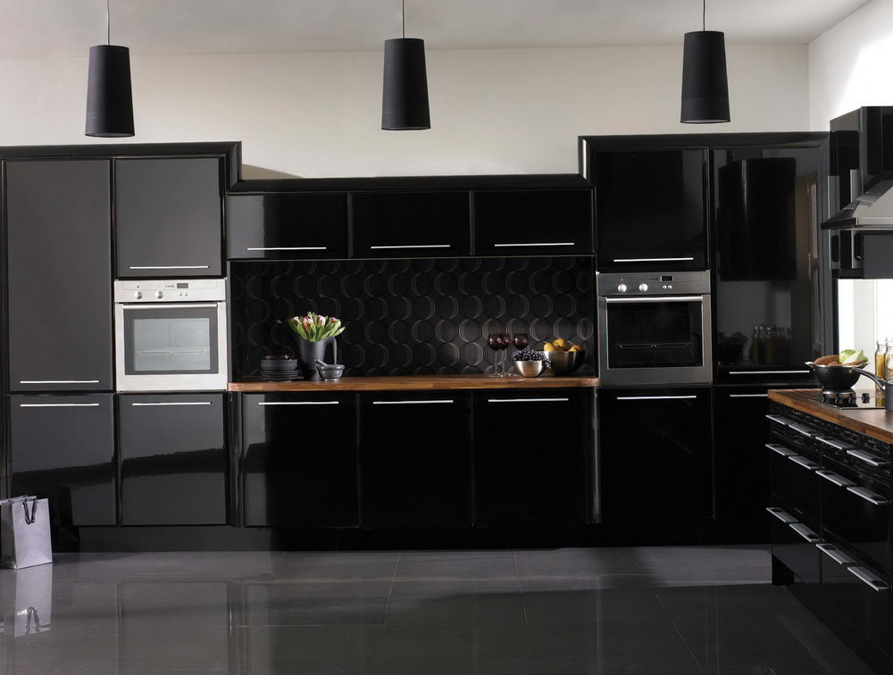 Shiny Black Kitchen Cabinets