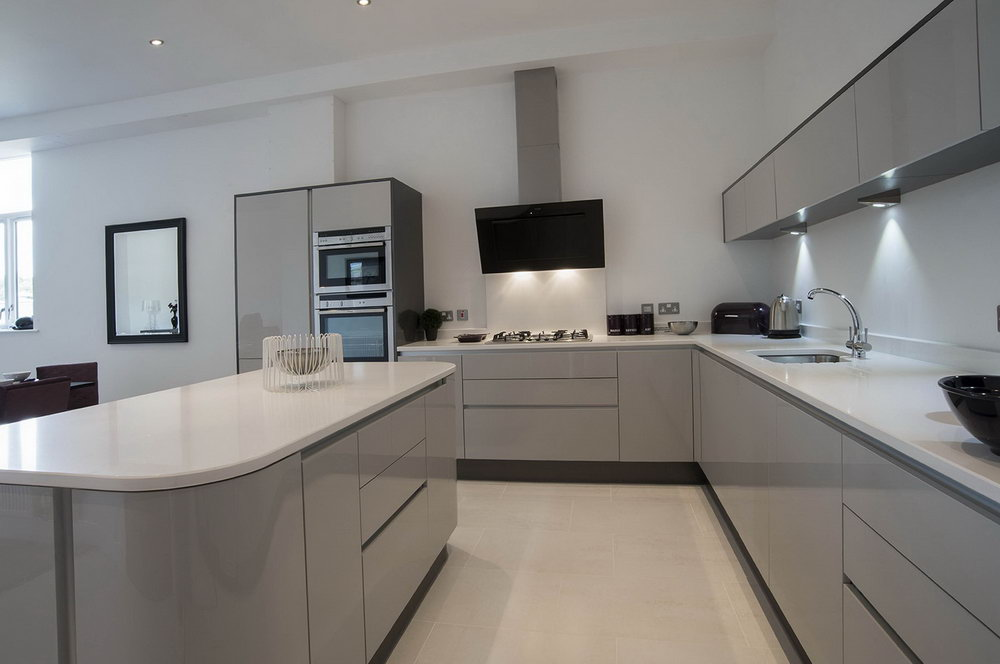 Shiny Grey Kitchen Cabinets