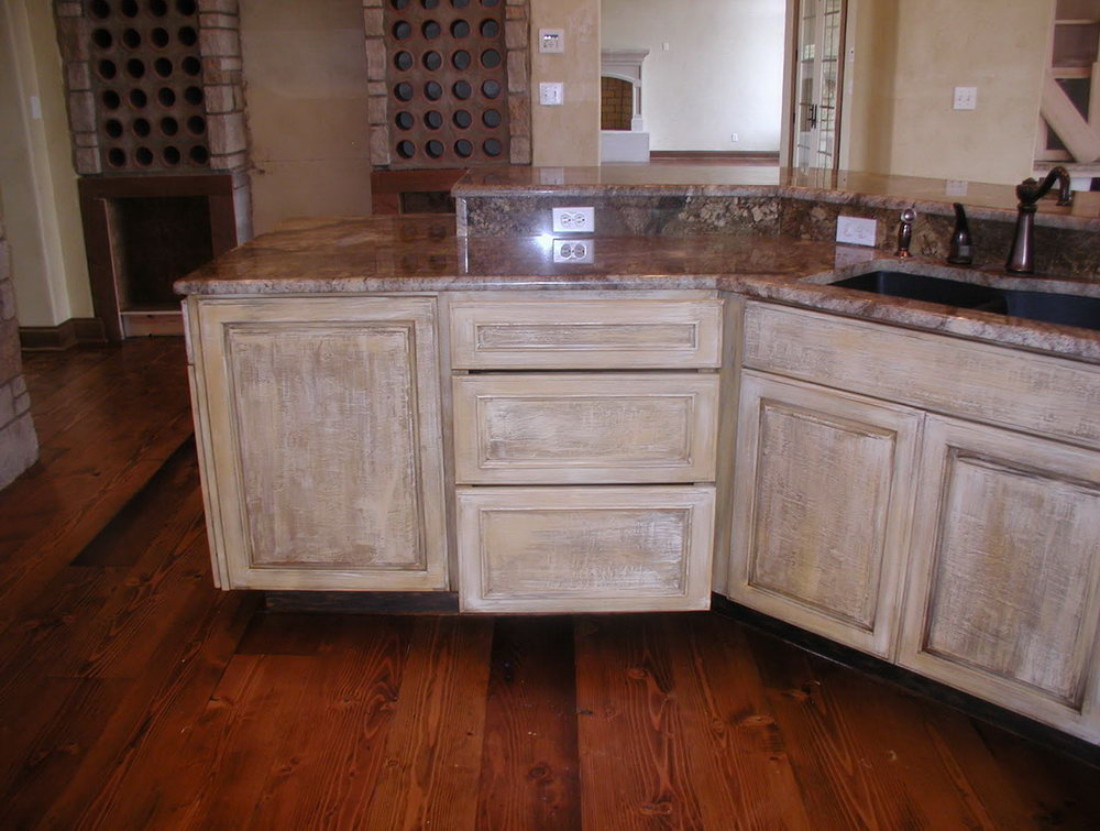 White Distressed Cabinets Kitchen
