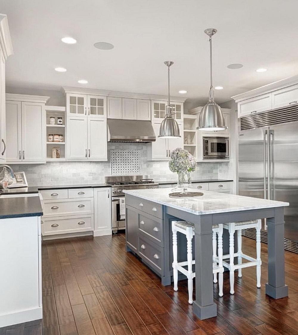 White Kitchen Cabinets Gray Island