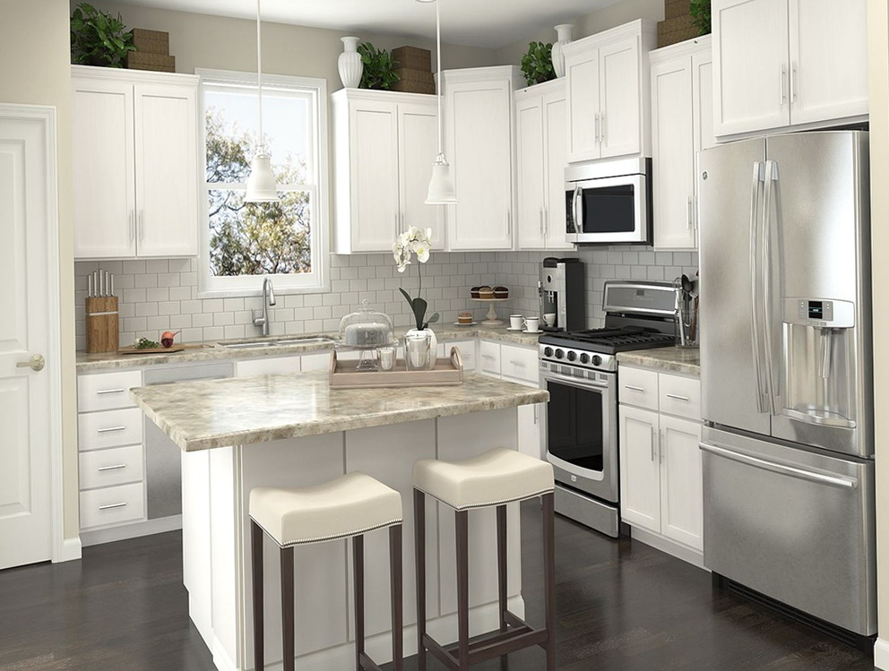 White Kitchen Cabinets L Shaped With Island