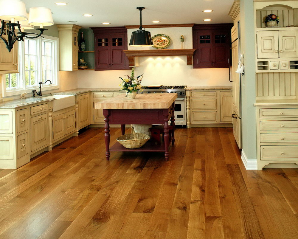 White Kitchen Cabinets Oak Floor