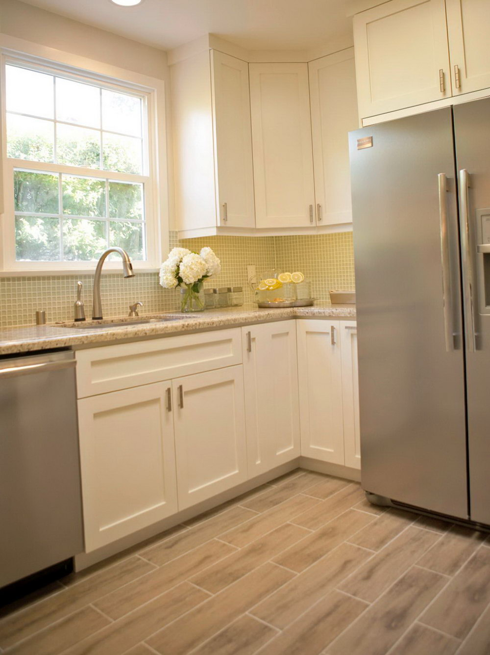 White Kitchen Cabinets Tile Floor