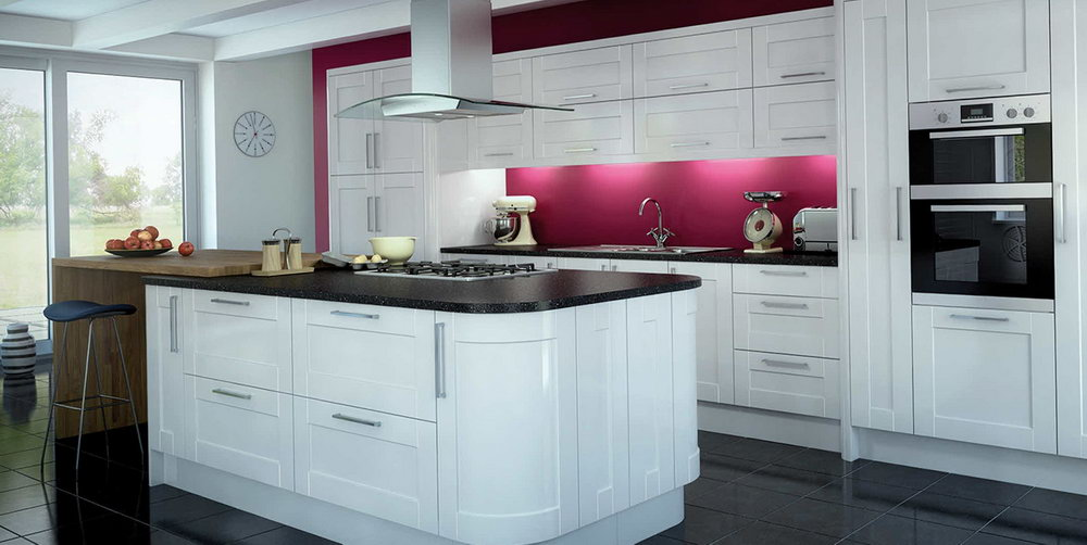 White Shiny Kitchen Cabinets