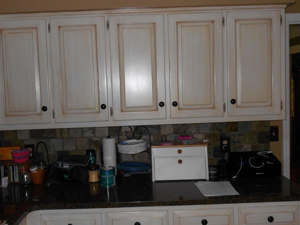Aged White Kitchen Cabinets