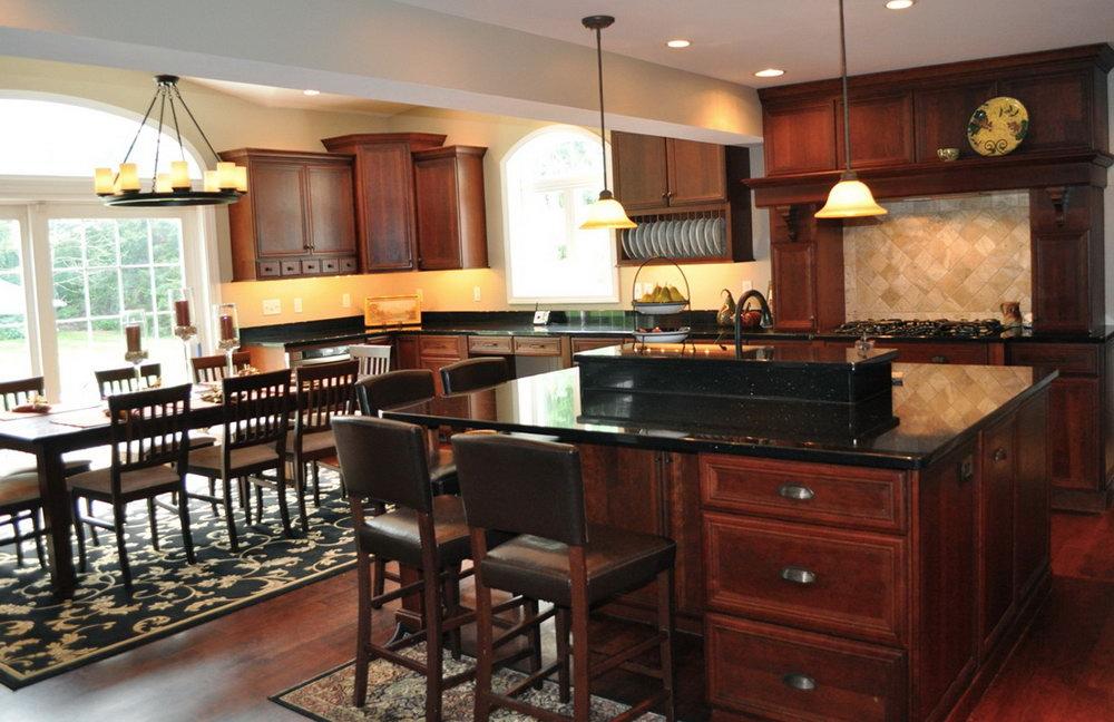 Cherry Kitchen Cabinets With Black Granite Countertops
