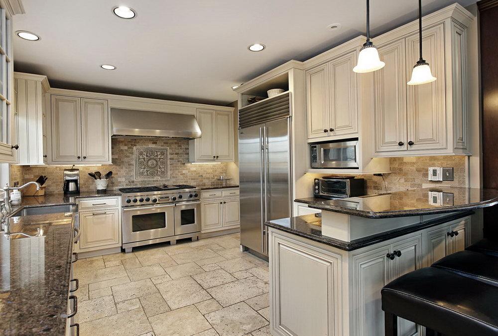 Custom Antique White Kitchen Cabinets